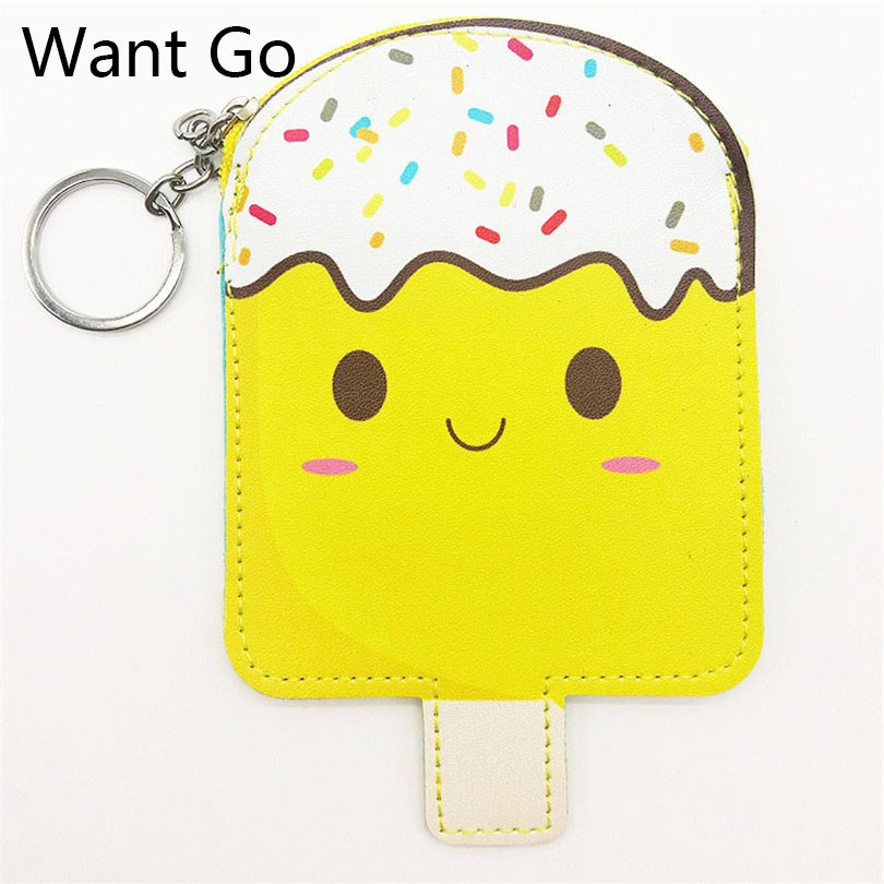 Want Go Cute Ice Lolly Popsicle Coin Purse Women Small Leather Bag Kawaii Mini Wallet Purse Zipper Key Storage Pouch Clutch Bag