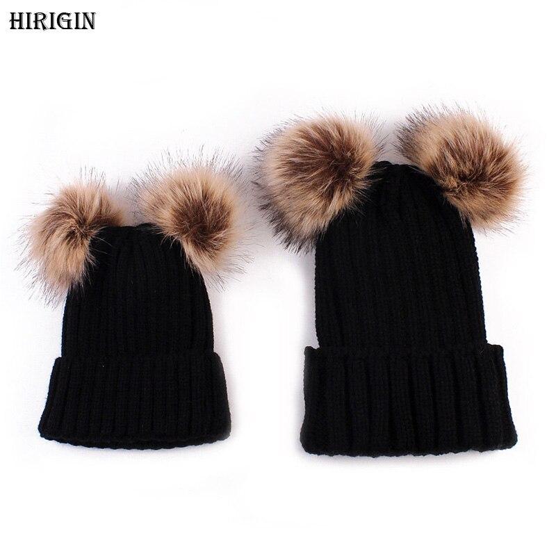 HIRIGIN Winter Warm Family Match Mom Newborn Baby Boy Girl Hats Solid Crochet Knit Hairball Beanie