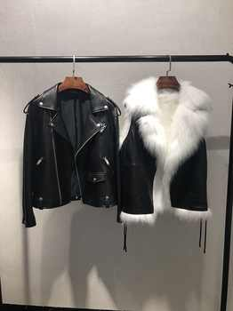 winter clothing natural sheepskin women's coats genuine leather jacket parka with real fur fox lining vest short femme black out