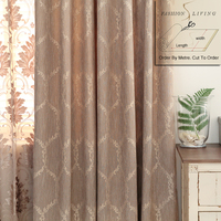 280cm Wide Cotton Linen Solid Coffee Brown Jacquard Blackout Drapery Fabric Budget Curtains Fabric Tablecloth DIY