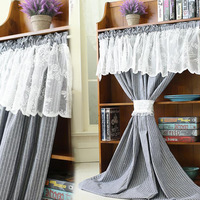 American Style Half curtain Light Blue Stripes Cotton Linen Door Curtain White Lace Embroidery Short Curtain for Kitchen Cabinet