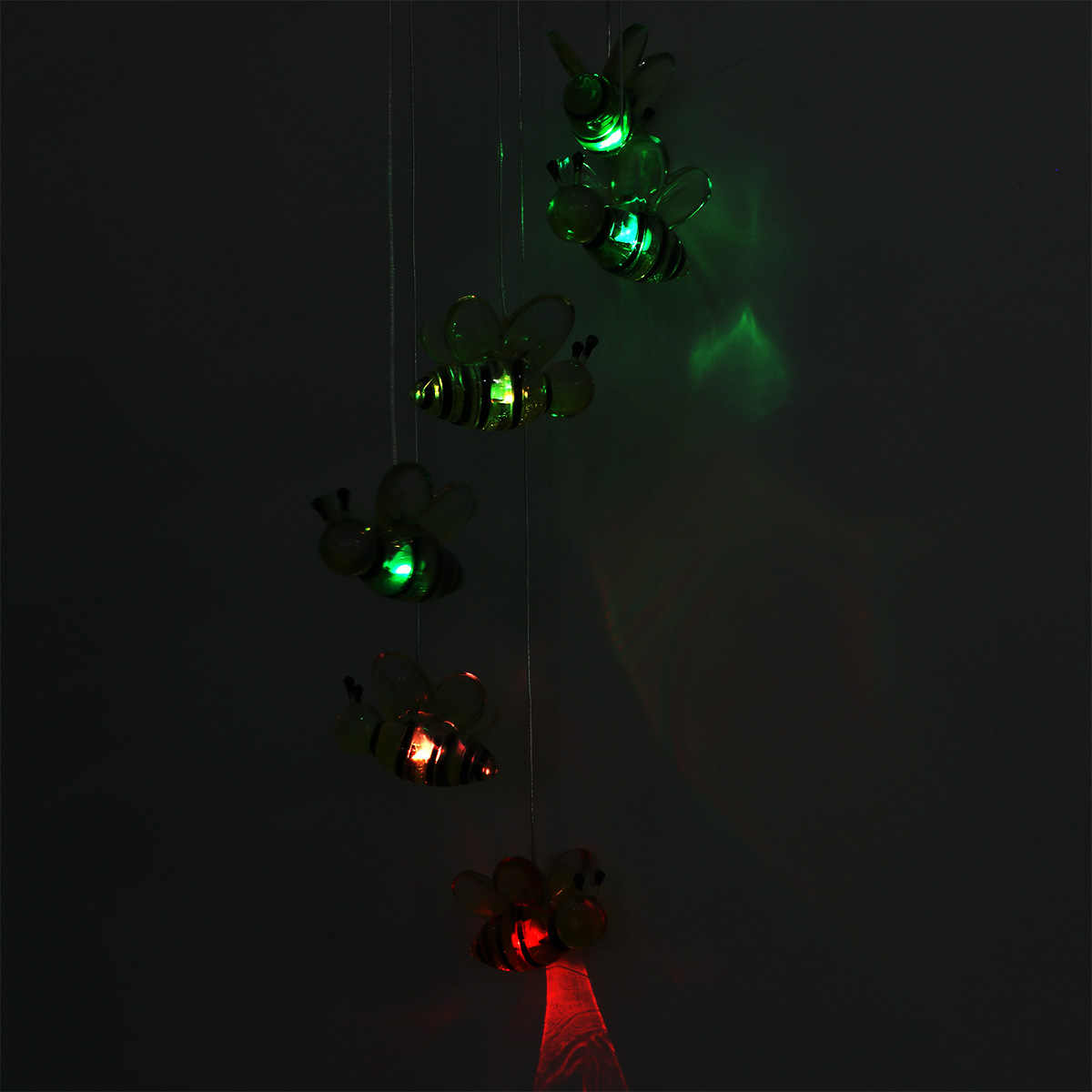 WINOMO светодиодный солнечный колокольчик пчелы Цвет Изменение мобильный ветряной светильник с музыкой для дома сада спальни офиса балкона Вечерние