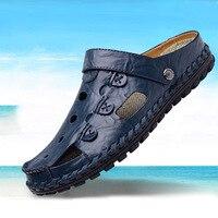 DJSUNNYMIX sandali Degli Uomini di Alta qualità Outdoor Moda Sandali di cuoio Genuino Pistoni Degli Uomini di Estate Traspirante Sandalias Hombre