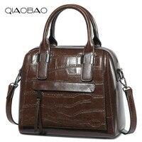 QIAOBAO Luxury Handbags Women Bag Designer 2018 High Quality Fashion Crocodile Tote Bags Handbag Women Famous Real Cow Leather