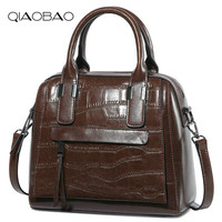 QIAOBAO Luxury Handbags Women Bag Designer 2018 High Quality Fashion Crocodile Tote Bags Handbag Women Famous Real Cow Leather