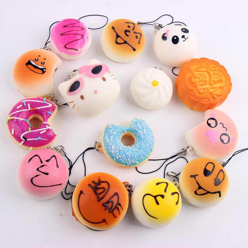 10/15/20 piezas correas de teléfono móvil suave y suave Panda Jumbo/PAN/Donut/helado móvil llavero decoración Kawaii chico regalo