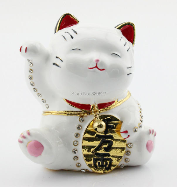 Asian Good Luck Cat Statue Box Metal Ring Holder Birthday Gift Animal Jewelry White