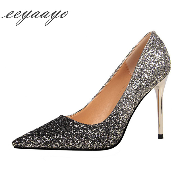 2019 New Spring/Autumn Women Pumps High Thin Heels Pointed Toe Shallow Sexy Bling Bridal Wedding Women Shoes Silver High Heels
