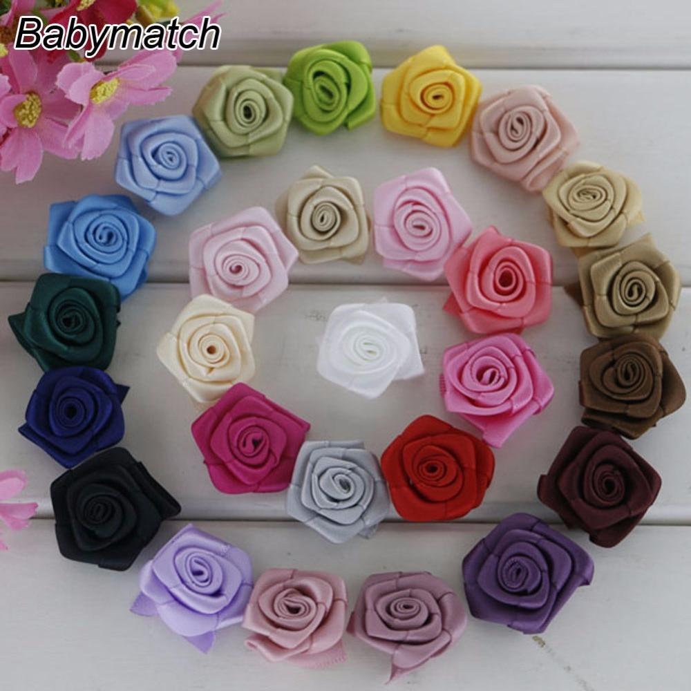 Nbabymatch 200pcslot 085 1 Mini Rolled Rosette Flower Satin
