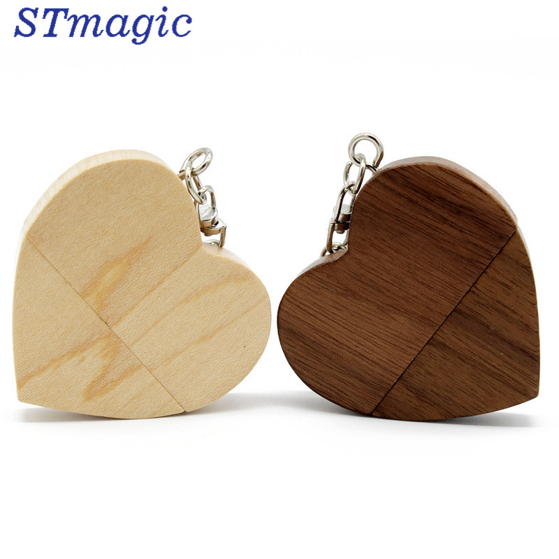STmagic Wooden Heart Usb flash drive Memory Stick Pen Drive 8gb 16gb 32gb Company Logo engravee цена