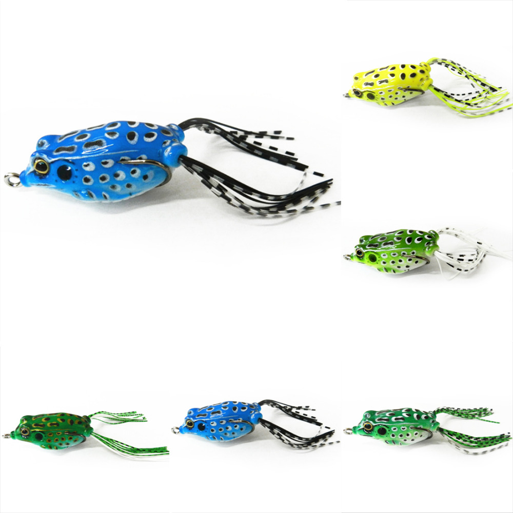 Hot Sell 1PC Soft Tube Bait Japan Plastic Fishing Lures Frog Lure Treble Hooks Ray Frog 5.5CM 8G Artificial Soft Bait