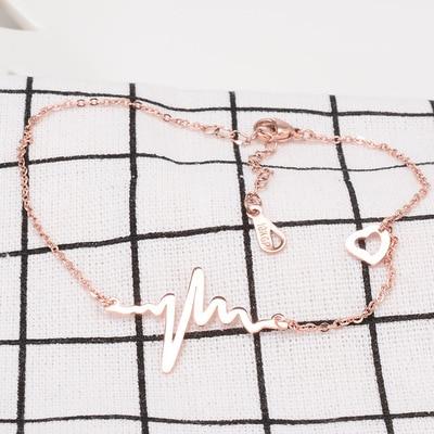 Růžové zlato barva srdce grafika kotník náramek noha řetízek, elegantní nerezové kotníky pro ženy tobilleras noha šperky dárek