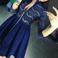 2017 otoño sexy dress women lace patchwork una línea de vestidos de fiesta vestidos casuales 3/4 cremalleras manga ahueca hacia fuera el club vestidos plus tamaño