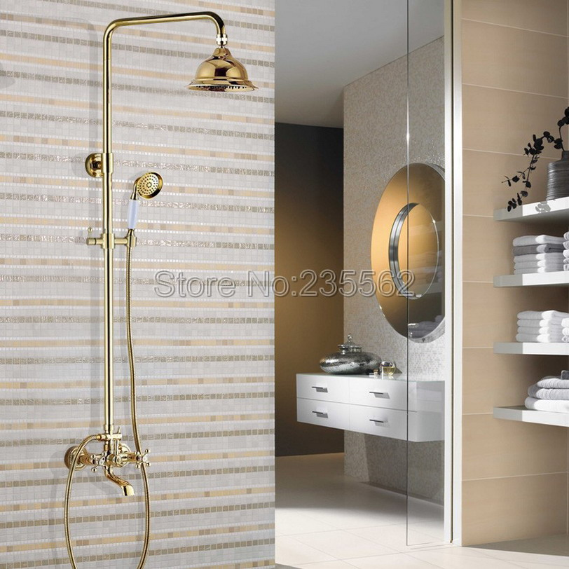 Luxury Gold Color Brass Bathroom Shower System with Tub Spout Faucet Mixer Tap + Rain Shower Heads lgf356