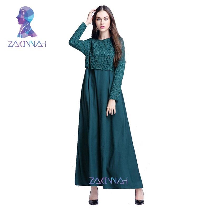 Yeni İslam Abaya Dantel Elbiseler Kadın Kaftan Kaftan Malezya - Ulusal Kıyafetler - Fotoğraf 5