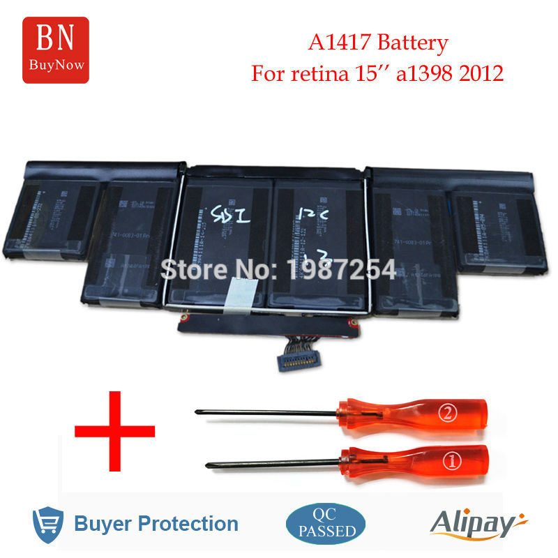 Genuine Cell A1417 Battery For Apple MacBook Pro Retina 15'' A1398 Battery Mid 2012 Early 2013 original 15 a1398 lcd screen display 2012 2013 2014 for macbook pro retina 15 4 a1398 lcd panel lp154wt1 sjav replacement