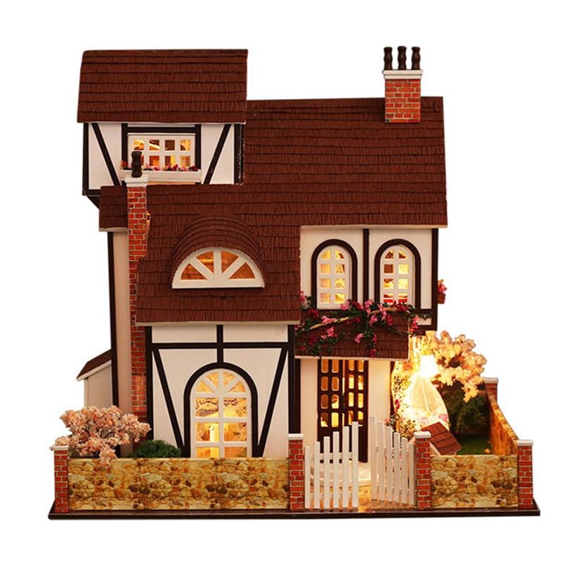 Cutebee DIY House Miniature with Furniture LED Music Dust Cover Model Building Blocks Toys for Children Casa De Boneca - 3