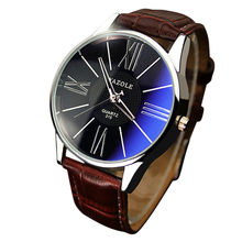 Luxury Fashion Men's Watch Leather Mens Glass Quartz Wristwatch Mens Watches Top Brand Luxury with Luminous stainless steel(China)