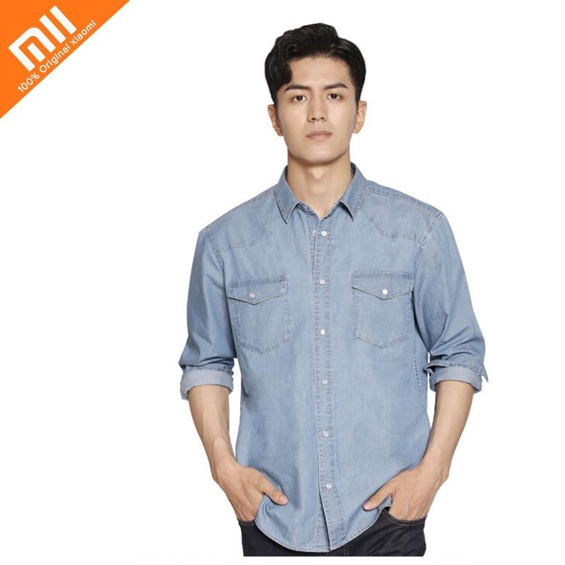 Original Xiaomi COTTONSMITH Basic Casual Denim Shirt Classical Foundation Comfortable Imitation Denim Youth Cloth hot xiaomi cottonsmith stylish denim jacket 100