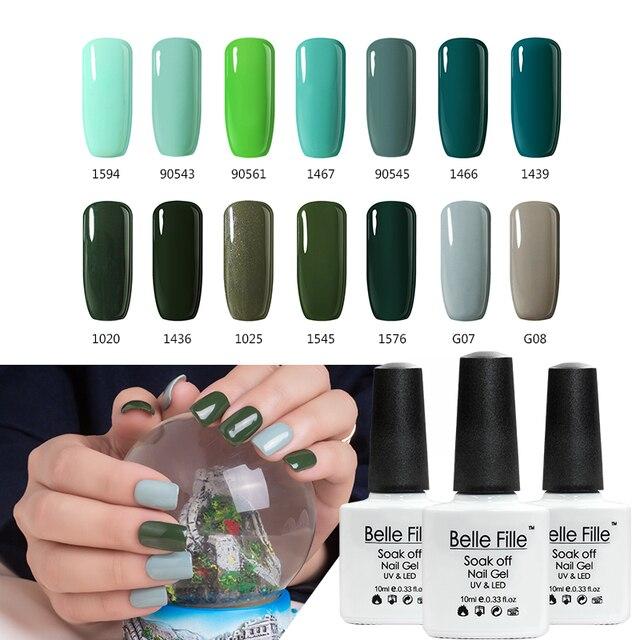 BELLE FILLE Dark Green Mint Green Color UV Gel Nail Polish 10ml LED ...