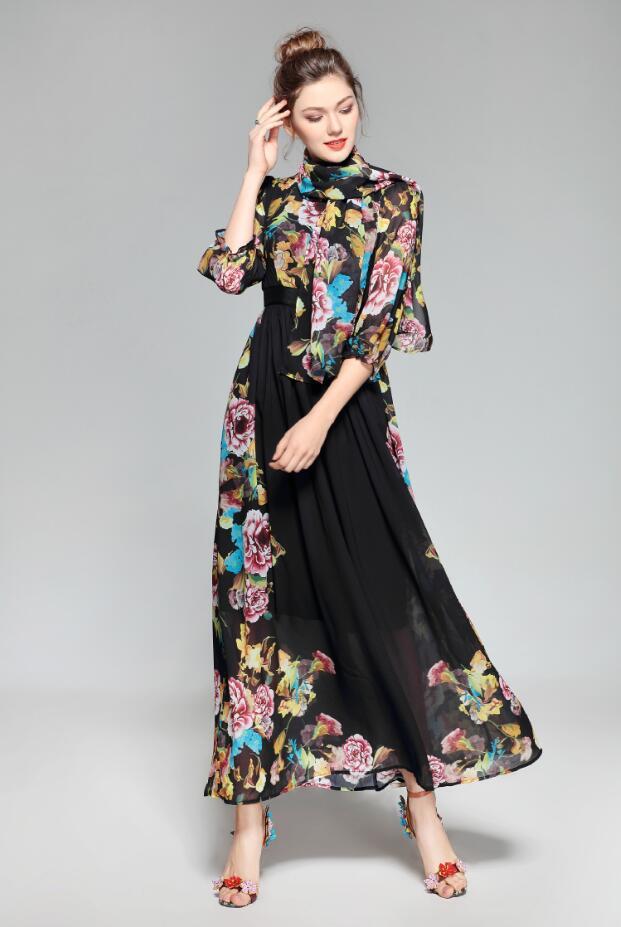 Fashion Dresses Accessories: Runway Dresses 2018 Plus Size Women Luxury Silk Runway