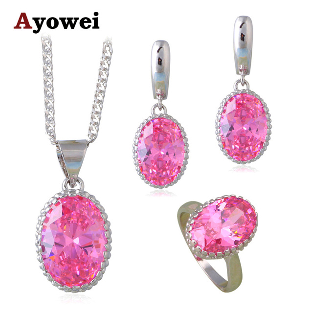 Beautiful Pink Zircon Fashion Jewelry Sets For Las Silver Stamped Cz Earrings Necklace Ring Sz