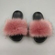 Womens Fox Hair Slippers Leather Fleece Slip Deluxe fox fur beach sandals fluffy comfortable furry slippers XL 36-45