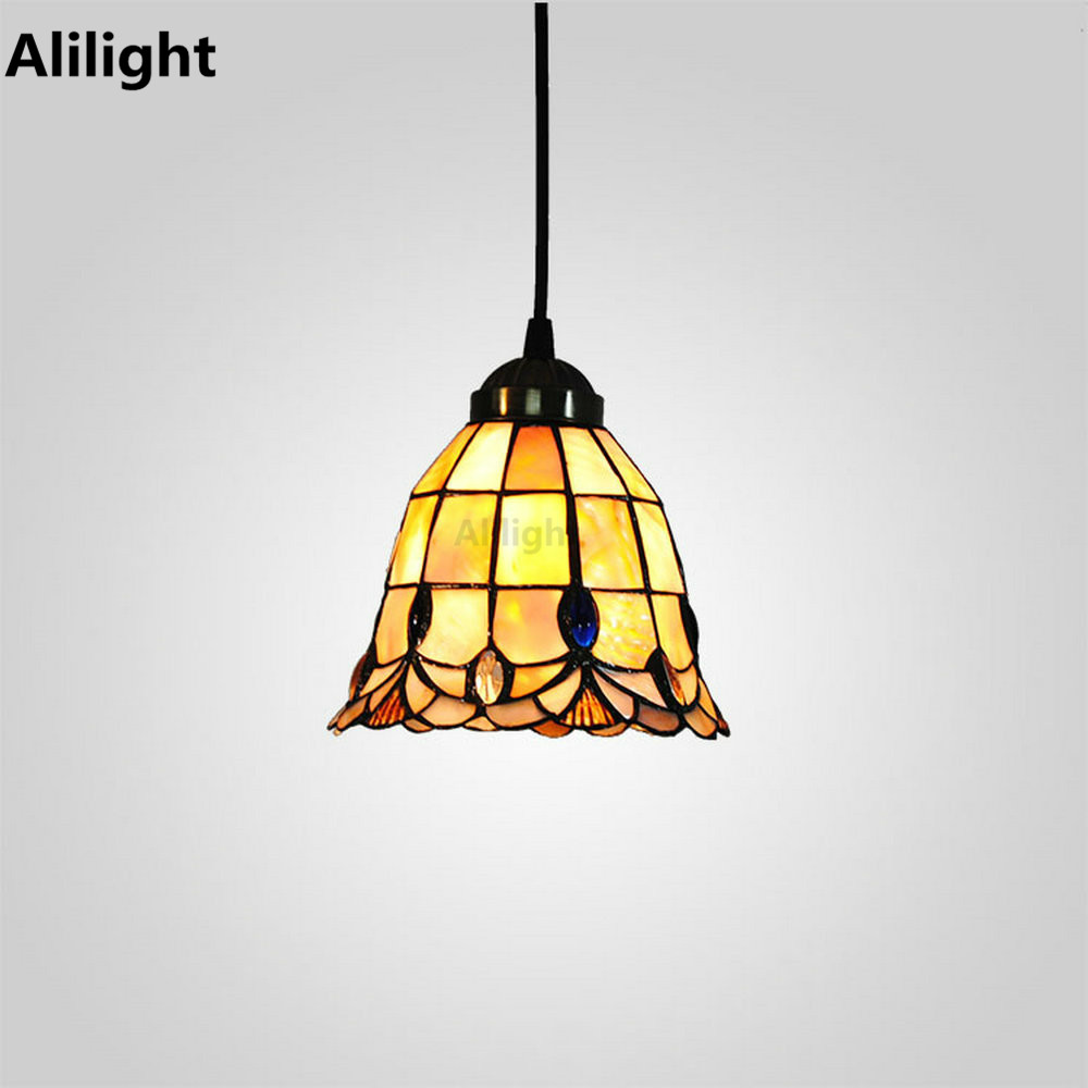 Vintage Indoor Lighting Height Adjustable Tiffany Hanging Lamps Design Pendant Light For Dining Living Room E27