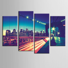 Beautiful canvas nature paintings living room Canvas Painting Wall Modern Pictures home decor City night bridge series/ZT-3-77