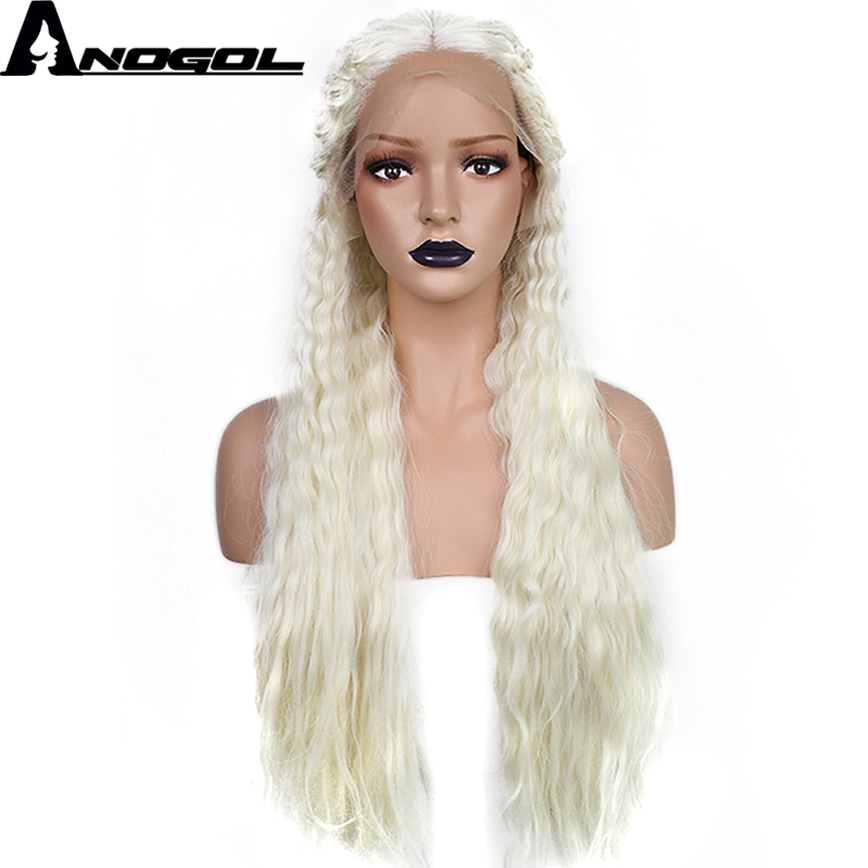 Anogol Long Deep Wave High Temperature Fiber Braided Platinum Blonde Synthetic Lace Front Wig for Princess
