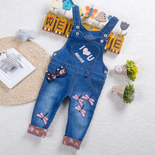 DIIMUU Kids Baby Toddler Clothing Girls Overalls Denim Suspender Pants Printing Love Cute Casual Jumpsuits Long Sleeve Trousers(China)