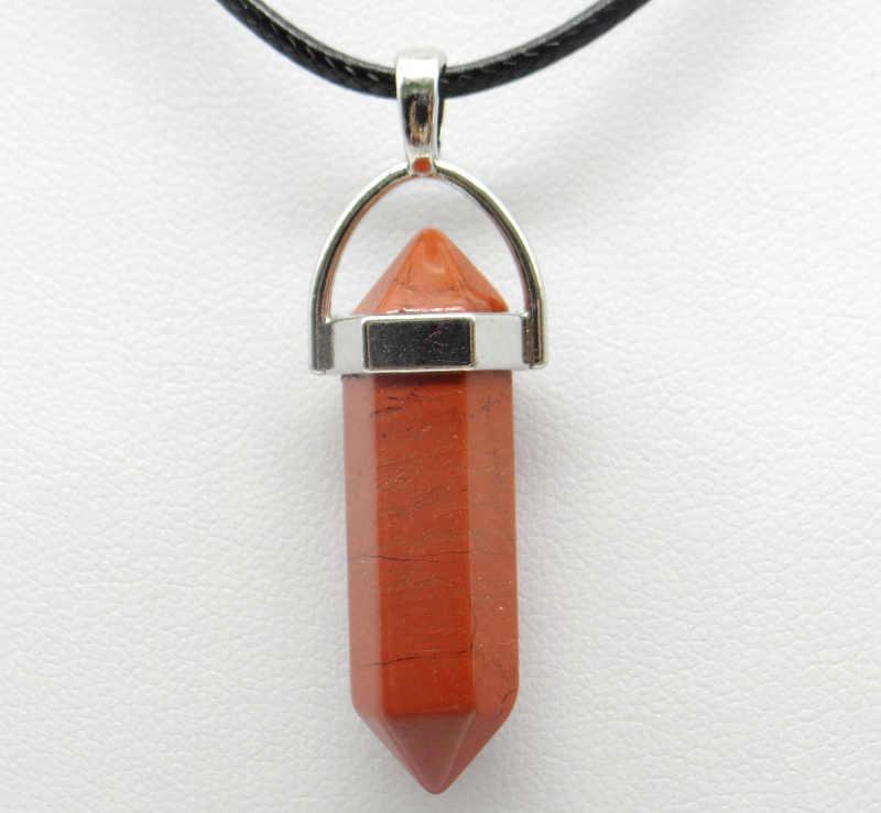 1 個天然石水晶オパールスノーフレーク石六角柱振り子ペンダントレザーチェーンネックレスファッションチャーム