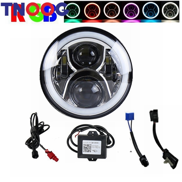 TNOOG 7 Inch LED Headlight Conversion Kits With RGB DLR Halo Light For Jeep Wrangler Jk TJ Hummer Trucks Motorcycle Led headlamp