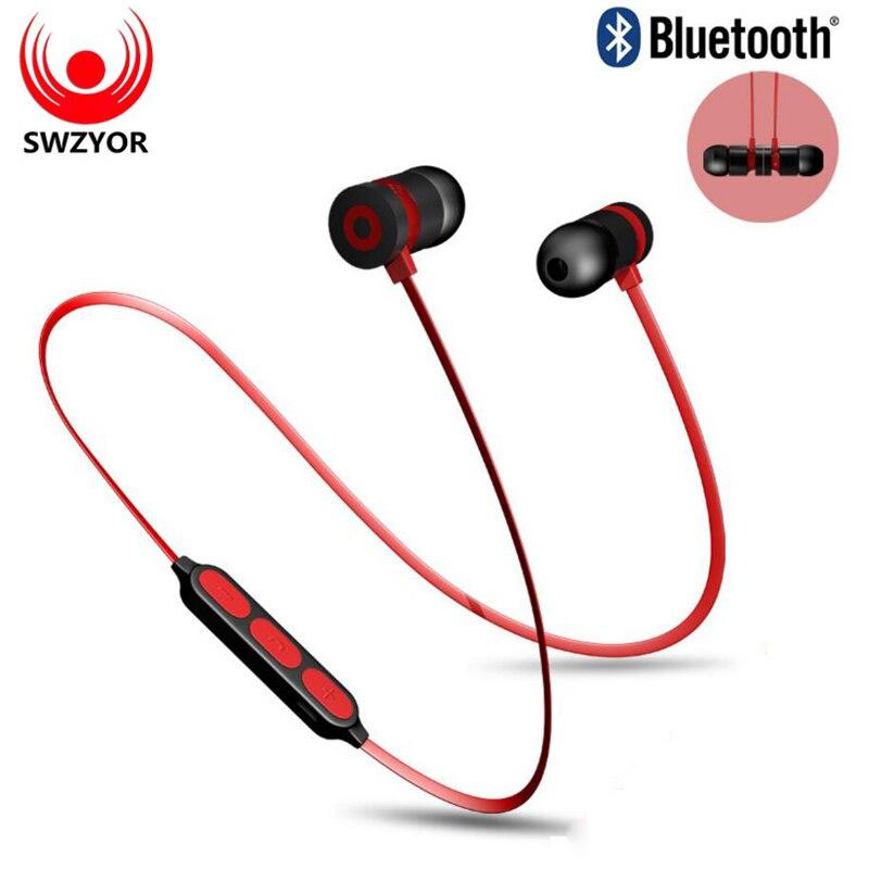 SWZYOR W1 Super Bass auricular Bluetooth auriculares inalámbricos con micrófono magnético en la oreja deportes auriculares Bluetooth para el teléfono móvil