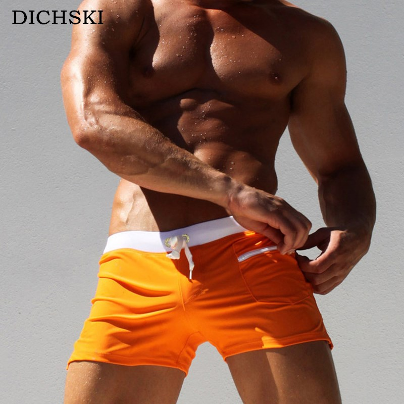DICHSKI Summer Sexy 2018 Elastic Low Waist Shorts Men Swimwear Solid Color Large Size Male Zipper Pocket Beach Swim Men's Briefs
