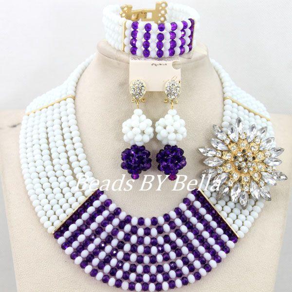 Nouveau mode blanc mariage femmes bijoux ensemble cristal perles collier Bracelet boucles d'oreilles ensemble perles africaines ensemble livraison gratuite ABY290
