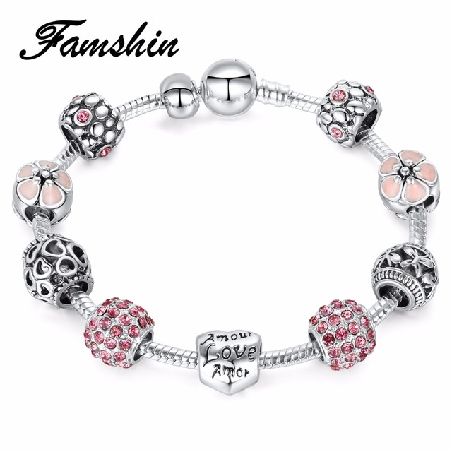 FAMSHIN Antique Silver Charm Bracelet & Bangle with Love and Flower Crystal Ball Women Wedding Valentine's Day Gift