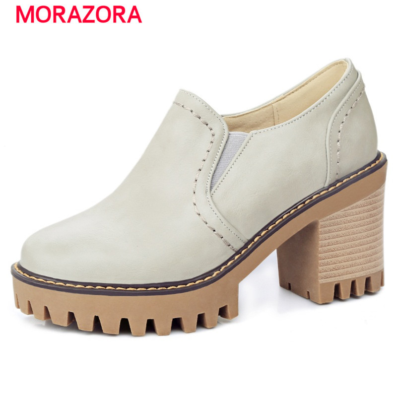 ФОТО MORAZORA Large size 33-43 platform shoes woman fashion high heels shoes round toe party women pumps spring shoes