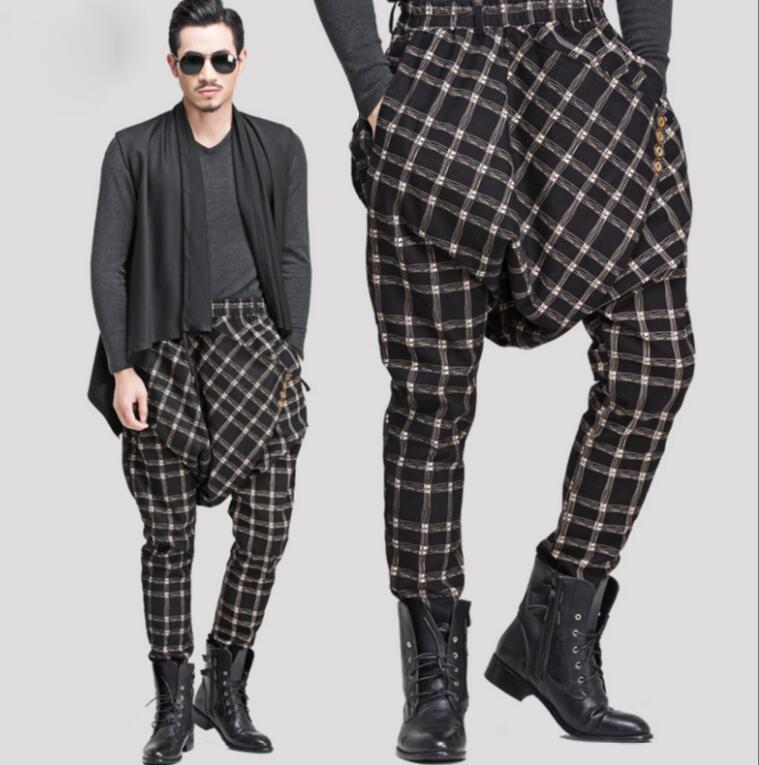 27 42 Autumn Korean hair stylist harem pants tide male Japanese hip hop show plus size harem boots pants loose trousers