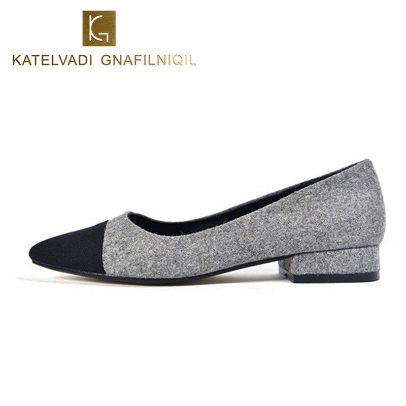 eb20da66d Купить Брендовая женская обувь на низком каблуке 2 см, серые офисные женские  туфли, модные элегантные вечерние туфли с квадратным носком, женские т.
