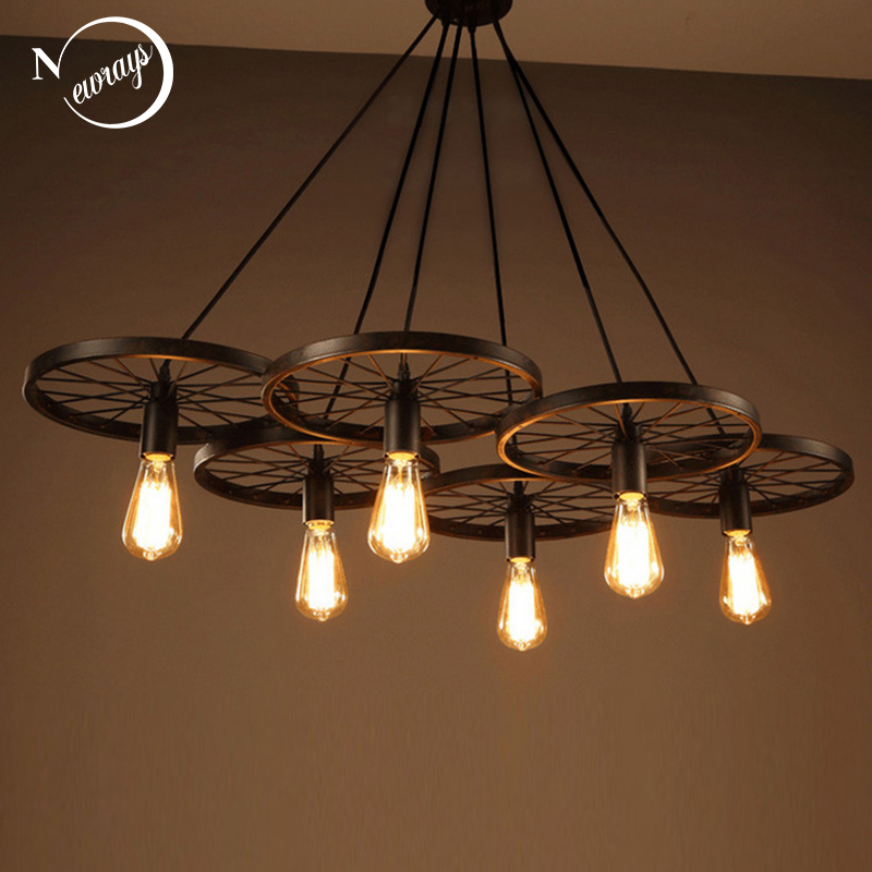 Retro Industrial Iron Wheel Vintage Black Pendant Lamp Classic Loft Lights E27 110V-220V For Restaurant Dining Living Room Bar