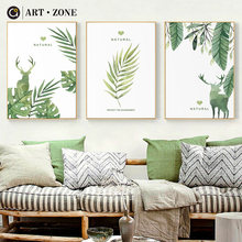 ART ZONE Natural Green Plant Canvas Painting Modern Botany Bedroom Living Room Home Decor Wall Art Leaves Poster Painting(China)