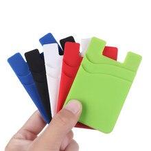 Venda quente telefone titular do cartão de silicone celular voltar titular do cartão elástico carteira vara no adesivo dinheiro id macio