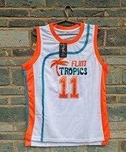 LIANZEXIN 11 ED Monix Flint Tropics Semi Pro Movie Embroidered Basketball  White Men 29b9a0a26