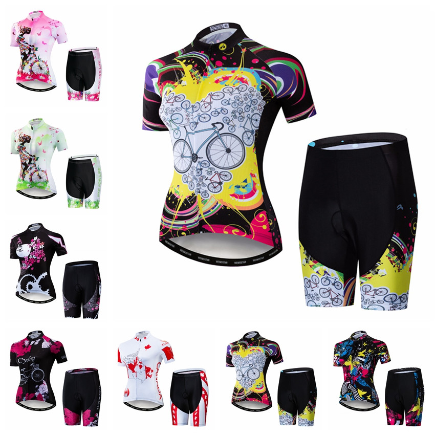 Weimostar 2019 Ciclismo Jersey Define Mulheres terno pro equipe Roupas Bicicleta MTB Mountian Bicicleta de Estrada Ropa ciclismo top ROSA fundo