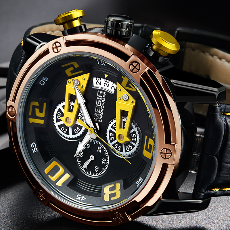 MEGIR Men's Genuine Leather Quartz Sports Watches Top Brand Luxury Military Stop Watch Waterproof Wrist Watch Relogio Masculino