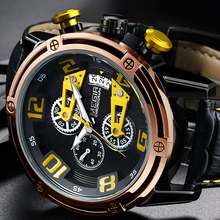 MEGIR Men's Genuine Leather Quartz Sports Watches Top Brand Luxury Military Stop