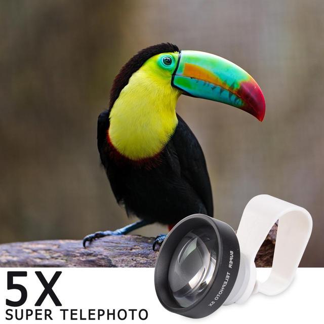2017 HD 5X Zoom Teleobjetivo de la Cámara Lente Del Telescopio Con Clips lentes de cámara del teléfono móvil para iphone 7 samsung xiaomi lenovo huawei