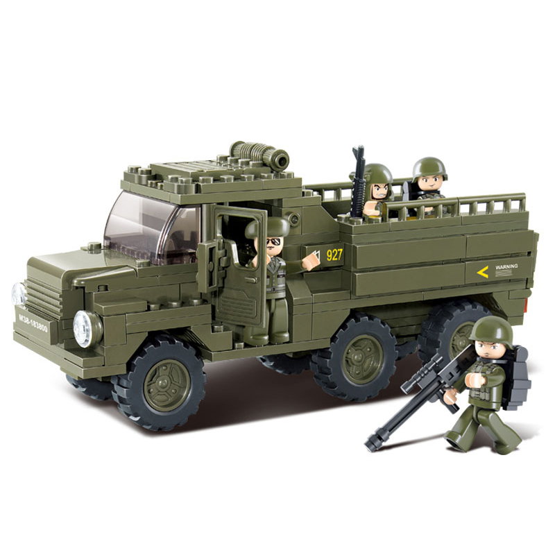 0301 SLUBAN Military Personnel Carrier Prowl Truck Model Building Blocks Enlighten Figure Toys For Children Compatible Legoe enlighten building blocks military cruiser model building blocks girls