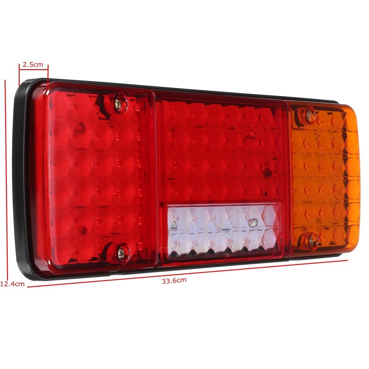 2Pcs 12V LED Rear Tail Lights 92LED Reverse Lamp 5 Function For Trailer Caravan Truck Lorry